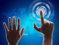 Human hand pressing virtual button Stock Images