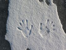 Human hand print in fresh white snow royalty free stock photo