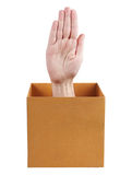 Human hand protruding from a box Royalty Free Stock Photography