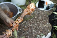 human hand pushes shish kebab stock images