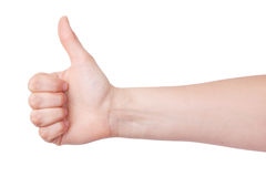 Human hand with a raised thumb Stock Photography