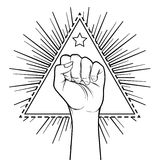 Human hand raised up over triangle shape with rays. Symbol of fi Stock Images