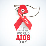 Human hand with red aids ribbon for World Aids Day concept. 1st December, World Aids Day concept with human hand holding red stop aids ribbon stock illustration