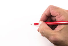 Human Hand and Red Pencil Royalty Free Stock Photo