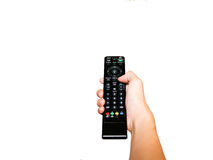 Human Hand with remote control on isolated white background (wit Royalty Free Stock Image