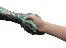 Human hand shaking robot hand isolated on white Stock Photo