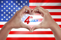 Human hand in shape of love with 4th of July text Stock Photography