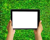 Human hand showing tablet with blank space for texts or products display. On grass background at the park Royalty Free Stock Photo