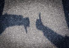 Human Hand Sign. On Asphalt Stock Images