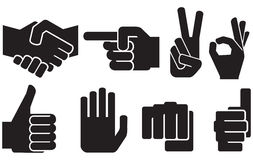 Human hand sign collection Royalty Free Stock Photo