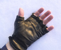 Human hand on the snow. Royalty Free Stock Photo