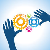 Human hand solve the engineering problems Royalty Free Stock Photo