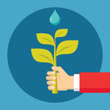 Human Hand with Sprout and Drop - Ecological Nature Illustration in Flat Design Style Royalty Free Stock Photography
