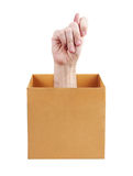 Human hand sticking out of a box Royalty Free Stock Photography