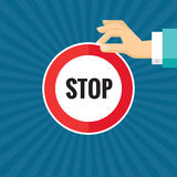 Human hand with stop sign - concept vector illustration in flat style design for creative projects. Human hand and circle. Royalty Free Stock Photo