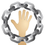 Human hand in strong steel circle chain  Stock Photography