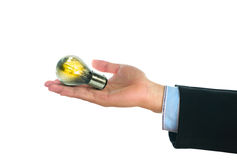 Human hand in suit holding light bulb Royalty Free Stock Photo