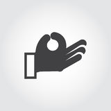 Human hand symbol black icon in flat design. Sign language gestures. Vector illustration for your different projects. Human hand symbol black icon in flat design Stock Photo
