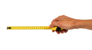 Human hand with tape-measure Royalty Free Stock Photo