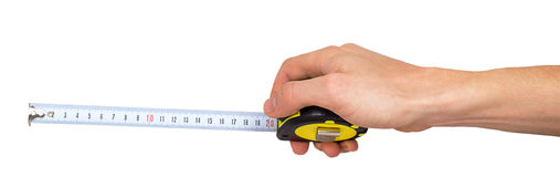Human hand with tape-measure Royalty Free Stock Image