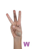 Human hand and three fingers up isolated on white Stock Photography
