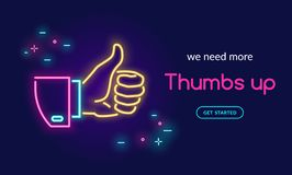 Human hand thumb up symbol in neon light style with text we need more thumbs up on dark purple background. Bright vector neon illustration light website banner royalty free illustration