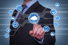 Human Hand Touching Cloud Computing Concept on Visual Screen royalty free stock photo