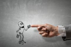 Funny sketched robot. Human hand touching with finger robot sketched design Stock Images