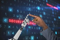 Human hand is touching robot hand against code computer background Royalty Free Stock Images
