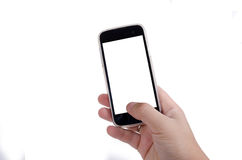 Human hand touching smart phone screen isolated on white background Stock Photo