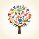 Human hand tree concept for community help. Tree made of colorful human hands in branches. Community help concept, diverse culture group or social project. EPS10 stock illustration