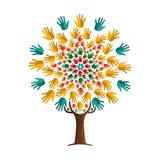 Human hand tree concept for community help. Tree made of colorful human hands in branches. Community help concept, diverse culture group or social project. EPS10 vector illustration
