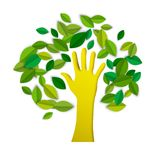 Hand tree paper cut art for environment care. Human hand tree concept illustration in paper cut style. Cutout arm shape with green leaves for environment stock illustration