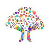 Human hand tree for culture diversity concept. Tree with colorful human hands together. Community team concept illustration for culture diversity, nature care or vector illustration