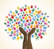 Human hand tree for culture diversity concept. Tree with colorful human hands together. Community team concept illustration for culture diversity, nature care or royalty free illustration