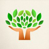 Human hand tree for green ecology concept. Tree with human hands together and green leaves. Eco friendly concept illustration for environment help, nature care vector illustration