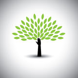 Human hand & tree icon with green leaves - eco concept vector. Stock Photos