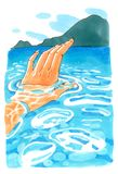 Human hand under the sea. Swimming in blue sunny water near the mountains, watercolor illustration Stock Image