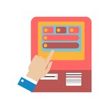 Human hand using ATM machine concept vector illustration Royalty Free Stock Photos
