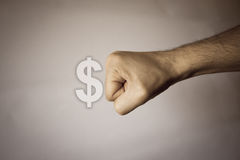 Human hand on vintage background to express strenght Stock Photo