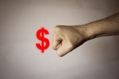 Human hand on vintage background to express strenght Stock Photos