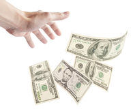 Human hand want to grab floating banknotes. Isolated on white background Royalty Free Stock Photo