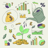Human hand watering money coin tree with can. Vector illustration vector illustration