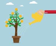 Human hand watering tree money Stock Images