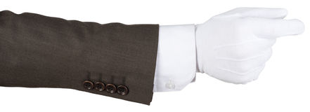 Human hand in white textile glove royalty free stock image