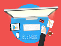 Human hand working on desktop for your business. Royalty Free Stock Image