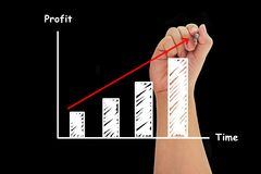 Human hand writing growth bar chart. On black background Royalty Free Stock Photography