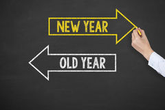 Human Hand Writing Old Year or New Year on Chalkboard Background Stock Images