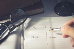 Human hand writing Plan Do Check Action Royalty Free Stock Photos