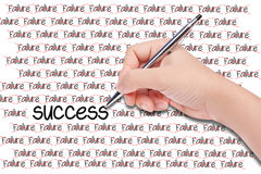 Human hand writing word's success. On white paper Stock Photos